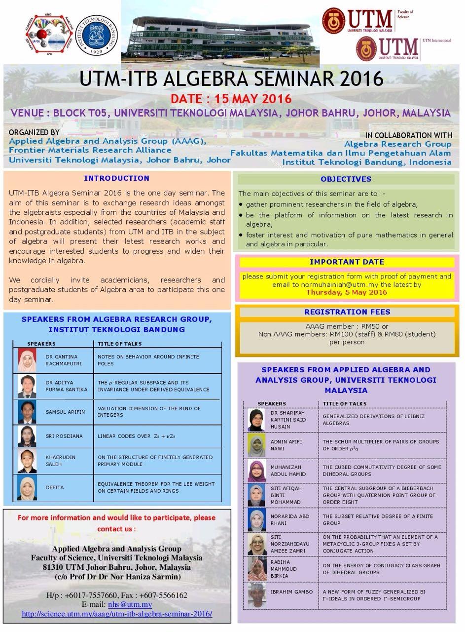 15 May 2016: UTM-ITB Algebra Seminar 2016